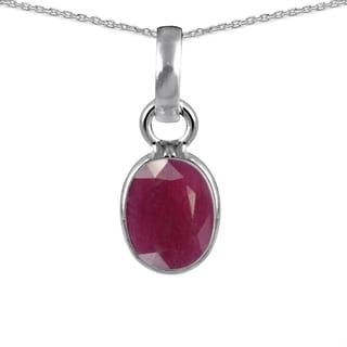 Orchid Jewelry 925 Sterling Silver 2.25ct TGW Genuine Ruby Necklace