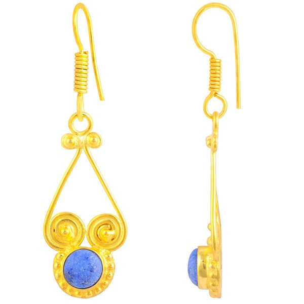 Orchid Jewelry Gold Plated 2 1/9ct. Round-cut Lapis Lazuli Earrings