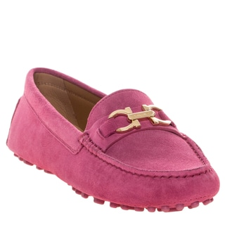 Salvatore Ferragamo Pink Gancio Bit Driver Moccasin with Rubber Sole