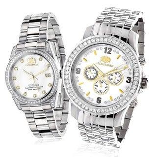 Luxurman His and Hers 4ct TDW Diamond Watch Set