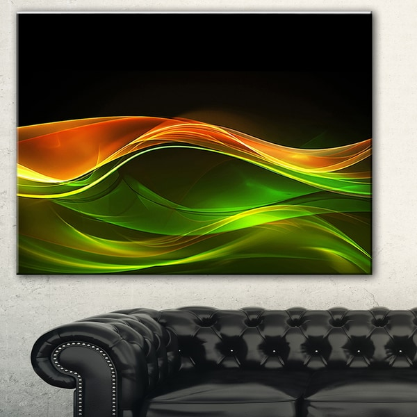 Designart 'Abstract Green Yellow in Black' Abstract Digital Art Canvas Print