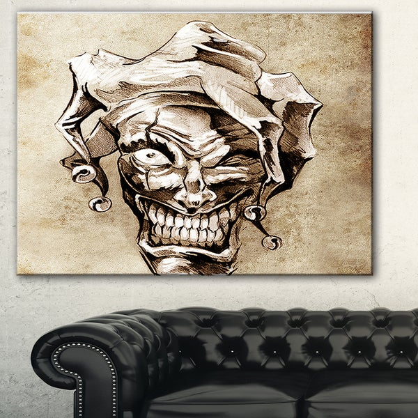 Designart 'Fantasy Clown Joker' Portrait Digital Art Canvas Print