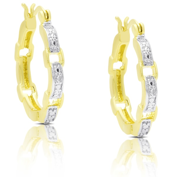 Finesque Gold Over Silver Diamond Accent Square Link Hoop Earrings