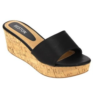 Fashion Focus Women's Cork Wedge Sandal