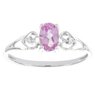 H Star 10k White Gold Created Pink Sapphire and Diamond Accent Ring (I-J, I2-I3)