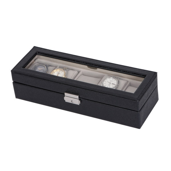 Mele & Co. 'Lewis' Glass Top Black Faux Leather Watch Box