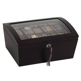Mele & Co. 'Royce' Locking Glass Top Java Wood Watch Box