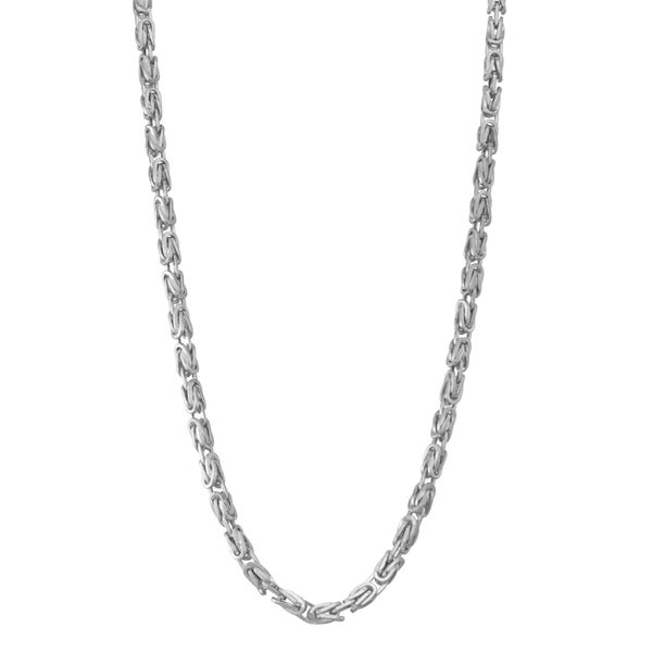 Gioelli 14k White Gold Petite Square Byzantine Necklace