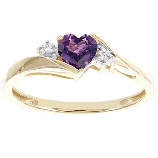 H Ster 10k Yellow Gold Sweetheart Amethyst and Diamond Accent Ring (I-J, I2-I3)
