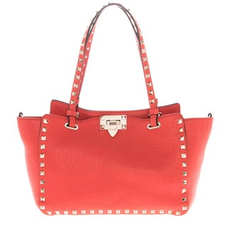 Valentino Red Small Rockstud Grained Leather Tote Bag