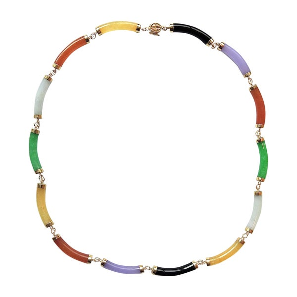 14k Yellow Gold Multi-color Curved Tube Jade Necklace