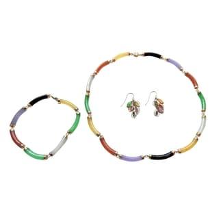 Multi-color Curved Tube Jade Jewelry Set