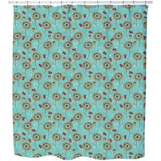 Boheme Fantasy Flowers Mint Shower Curtain