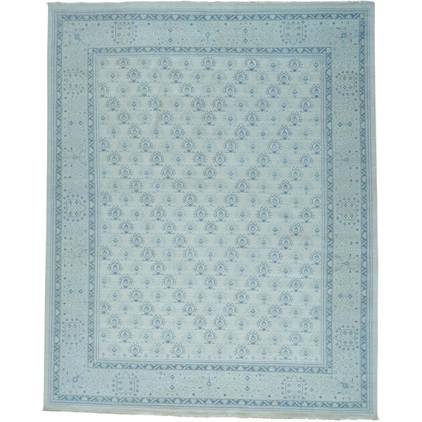 Oversize Turkish Knot Oushak Cropped Thin Handmade Rug (11'10 x 14'10)