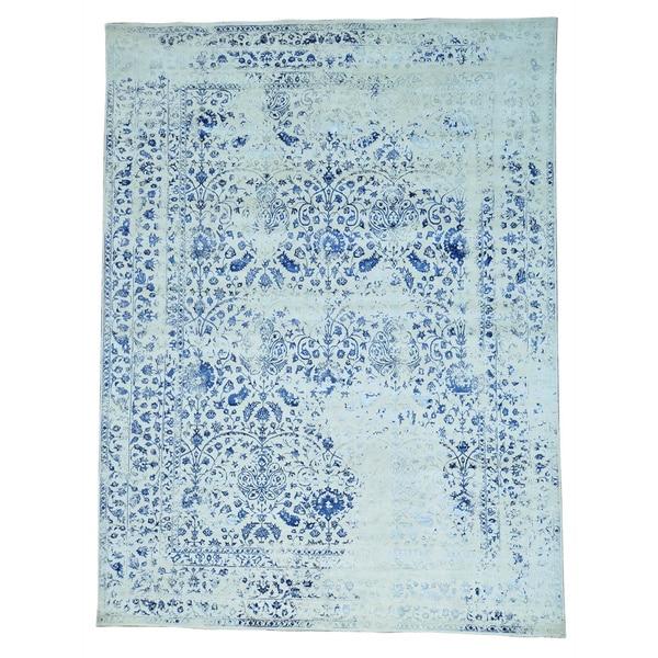 Half Wool Half Silk Kashan Broken Design Hand-knotted Rug (9'1 x 12'1)