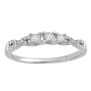 10k White Gold 1/10ct TDW Diamond Bridal Crossover Swirl 3-stone Ring (I-J, I2-I3)