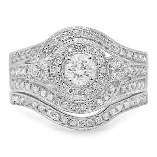 14k White Gold 1ct TDW Diamond Vintage Bridal Ring Set (H-I, I1-I2)