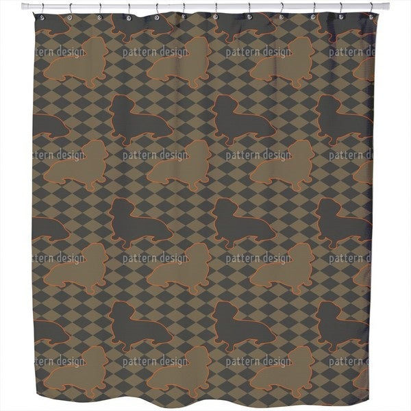 Dachshunds Master Is Check Mate Shower Curtain