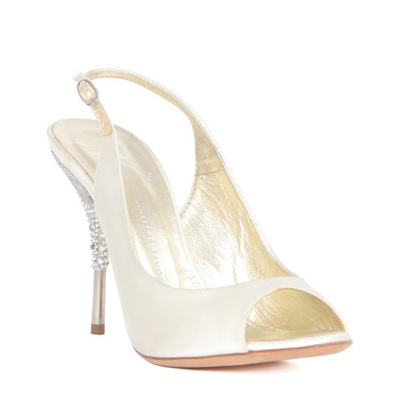 Giuseppe Zanotti Off-white Satin Heel Sandals with Rhinestones