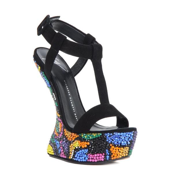 Giuseppe Zanotti Black Suede T-Strap Platform Heel Sandals