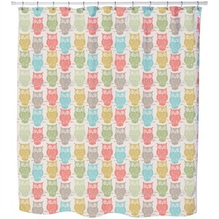 Colored Owls Look Out Shower Curtain
