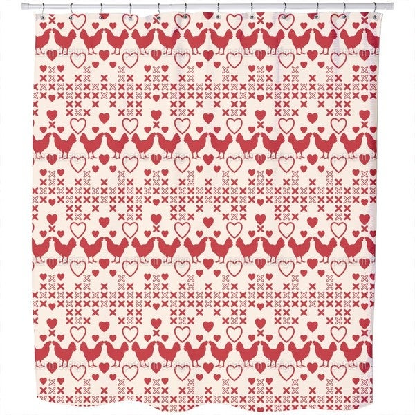 Chicken Have Big Hearts Shower Curtain 18017956