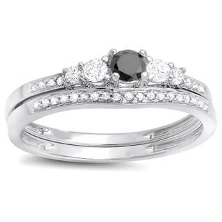 14k White Gold 1/2ct TDW Black and White Diamond 5-stone Bridal Ring Set (H-I, I1-I2)