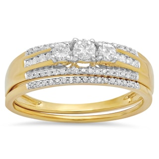 14k Yellow Gold 2/5ct TDW Diamond 3-stone Bridal Ring Engagement Set (H-I, I1-I2)