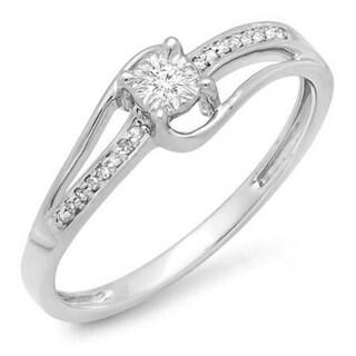 10k White Gold 1/10ct TDW Diamond Wave Bridal Promise Engagement Ring (I-J, I2-I3)