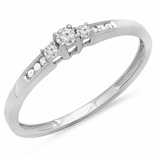 10k White Gold 1/6ct TDW Diamond Bridal Promise 3-stone Engagement Ring (I-J, I2-I3)