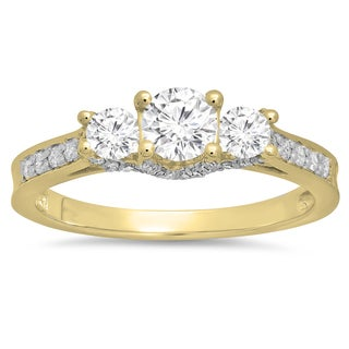 14K Gold 1 ct. TDW Round Diamond 3 Stone Ladies Vintage Style Bridal Engagement Ring (I-J, I1-I2)