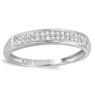 10k White Gold 1/6ct TDW Diamond Anniversary Wedding Band Ring (I-J, I2-I3)