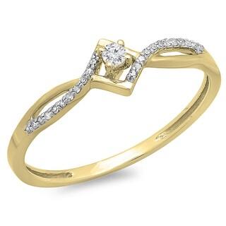 10k Gold 1/8ct TDW White Diamond Bypass Style Promise Ring (I-J, I2-I3)