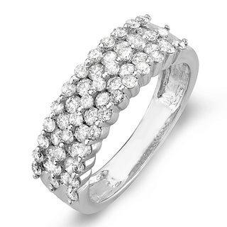 14k White Gold 1ct TDW Diamond Bridal Anniversary Wedding Band Ring (I-J, I1-I2)