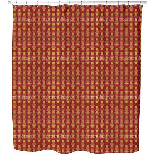 Fire Red On The Trapeze Shower Curtain