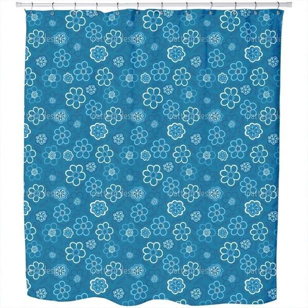 Flower Blues Shower Curtain