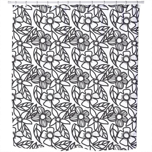Flower Doodles Black and White Shower Curtain