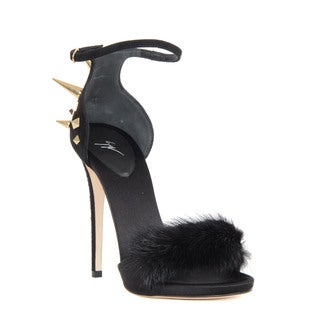 Giuseppe Zanotti Black Suede Fur Toe Heeled Sandals