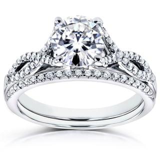 Annello 14k White Gold 1 1/5ct TCW Forever Brilliant Moissanite and Diamond Antique Bridal Rings (H-I, I1-I2)