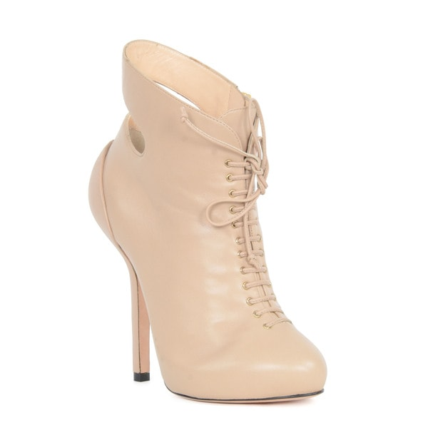 Giuseppe Zanotti Pink Leather Lace-up Booties