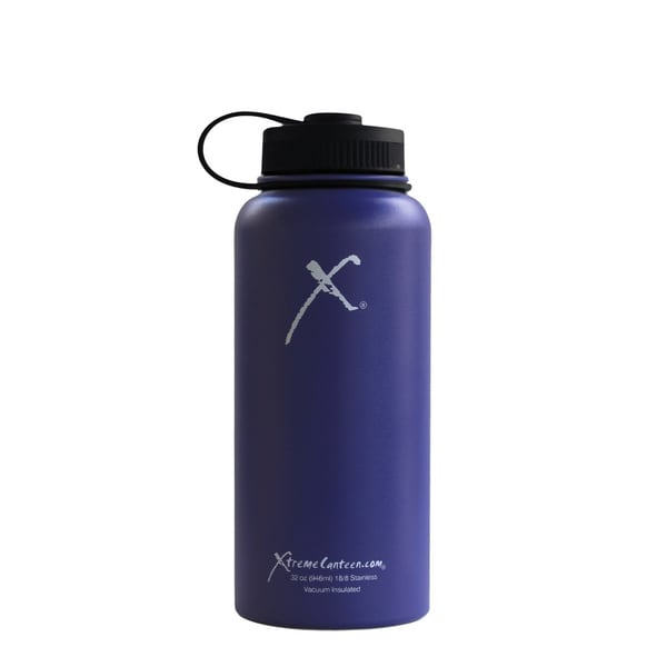 Xtreme Canteen 32-ounce Double Wall, Vacuum Insulated, 18/8 Stainless Steel Wide Mouth Water Bottle with Plastic Strap Lid