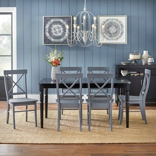 Simple Living Albury Black and Grey Cross Back Dining Set (7 Piece)