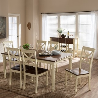Baxton Studio Actaeon Modern Country Cottage Buttermilk Walnut Finish 8-piece Dining Set with 18-Inch Butterfly Extension Leaf