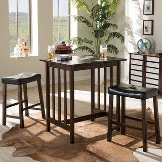 Baxton Studio Nidon Modern and Contemporary Dark Brown 3-piece Kitchen Breakfast Set