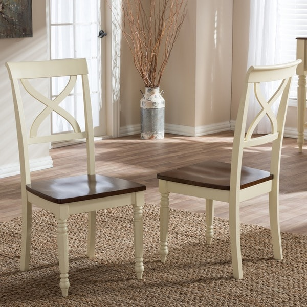 Baxton Studio Actaeon Modern Country Cottage Buttermilk and Walnut Finishing Dining Chair (Set of 2)
