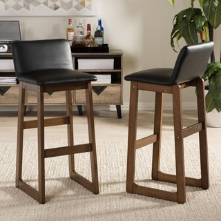 Baxton Studio Jonas Modern and Contemporary Walnut Finishing 29-Inch High Bar Stool Set (Set of 2)