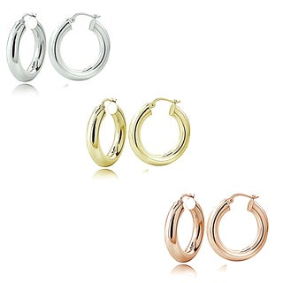 Mondevio Silver 5mm High Polished Round Hoop Earrings (Set of 3)