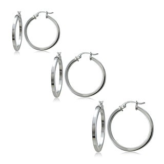 Mondevio Silver 2mm High Polished Square Hoop Earrings (Set of 3)