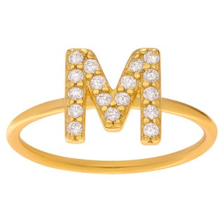 Journee Collection Sterling Silver Cubic Zirconia Initial Midi Ring