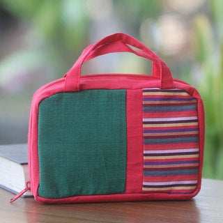 Handcrafted Cotton 'Red Jogja' Cosmetics Bag (Indonesia)